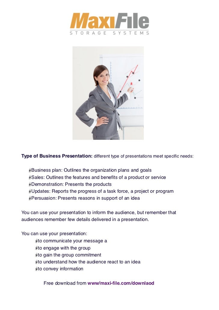 Type of Business Presentation: different type of presentations meet specific needs:    Business plan: Outlines the organiza...