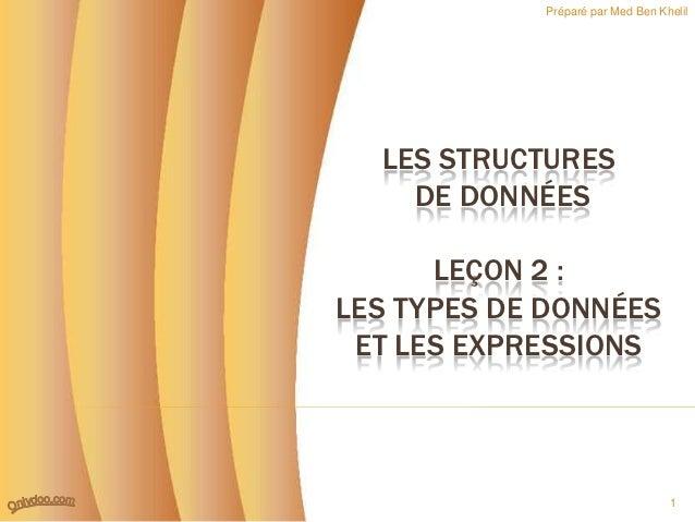 Préparé par Med Ben Khelil  LES STRUCTURES    DE DONNÉES      LEÇON 2 :LES TYPES DE DONNÉES ET LES EXPRESSIONS            ...