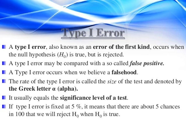 type i and type ii errors These two errors are called type i and type ii, respectively table 1 presents the four possible outcomes of any hypothesis test based on (1) whether the null hypothesis was accepted or rejected and (2) whether the null hypothesis was true in reality.