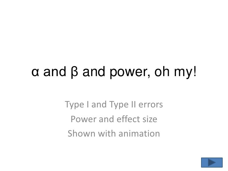 α and β and power, oh my!<br />Type I and Type II errors<br />Power and effect size<br />Shown with animation<br />