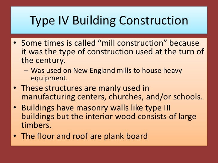 Type iv building construction for Building construction types for insurance