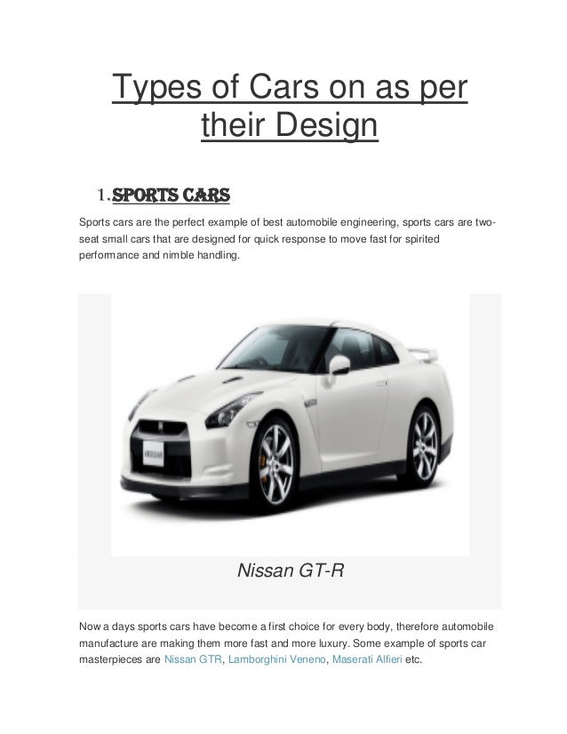 Types Of Cars On As Per Their Design 1.Sports Cars Sports Cars Are The ...
