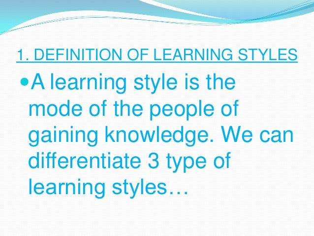 Type Of Learners Visual