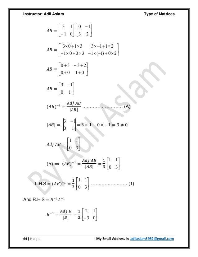 Type of Matrices in Linear Algebra