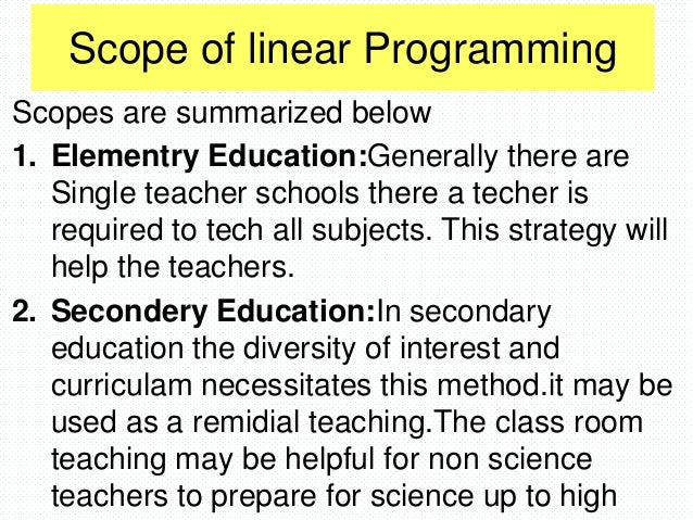scope of linear programming