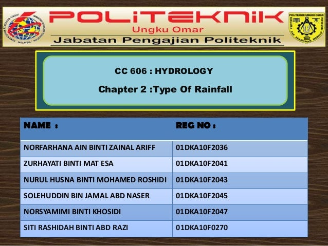 CC 606 : HYDROLOGY  Chapter 2 :Type Of Rainfall  NAME :  REG NO :  NORFARHANA AIN BINTI ZAINAL ARIFF  01DKA10F2036  ZURHAY...