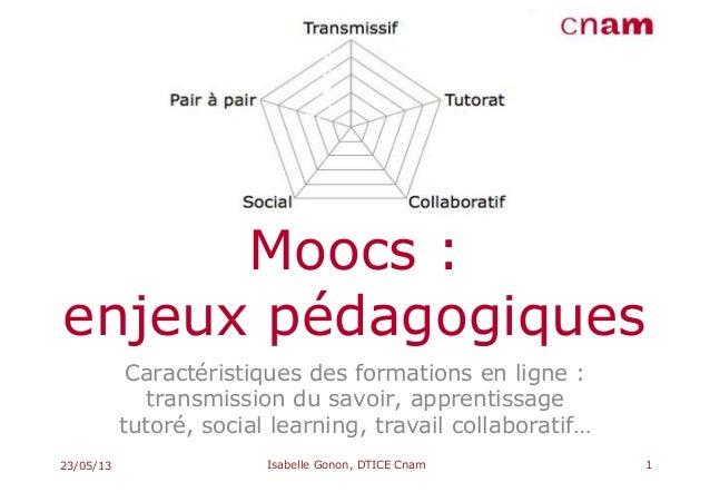 Moocs :enjeux pédagogiquesCaractéristiques des formations en ligne :transmission du savoir, apprentissagetutoré, social le...