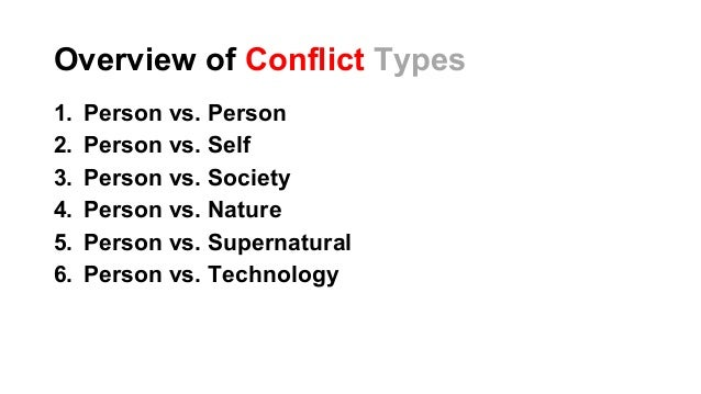 conflict types Eng125: introduction to literature types of conflicts found in literature below  is a list of possible conflicts found in literature select each conflict to learn more.