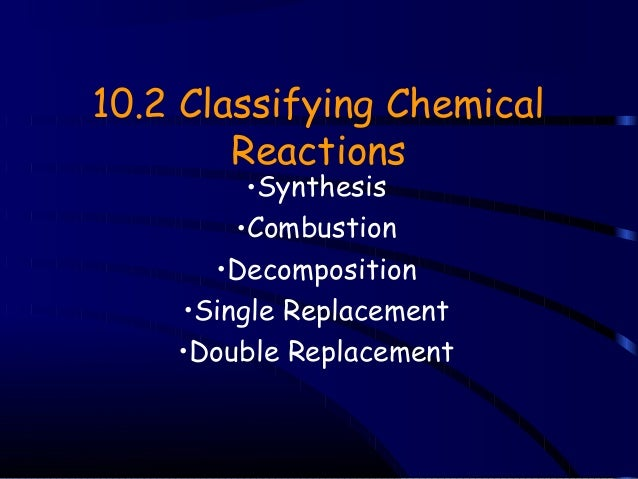 10.2 Classifying Chemical Reactions •Synthesis •Combustion •Decomposition •Single Replacement •Double Replacement