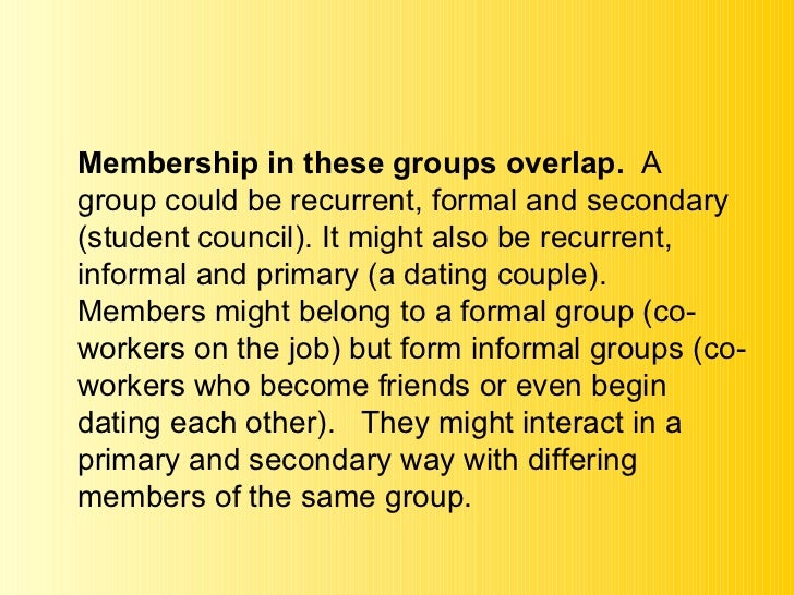 being member social group Some social psychologists, for example, looked at the ways in which, for example ,  in groups we expect members to be connected in some meaningful way.