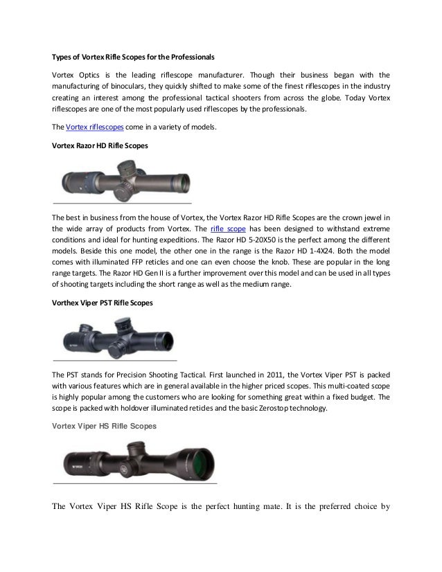 Types of Vortex Rifle Scopes for the Professionals