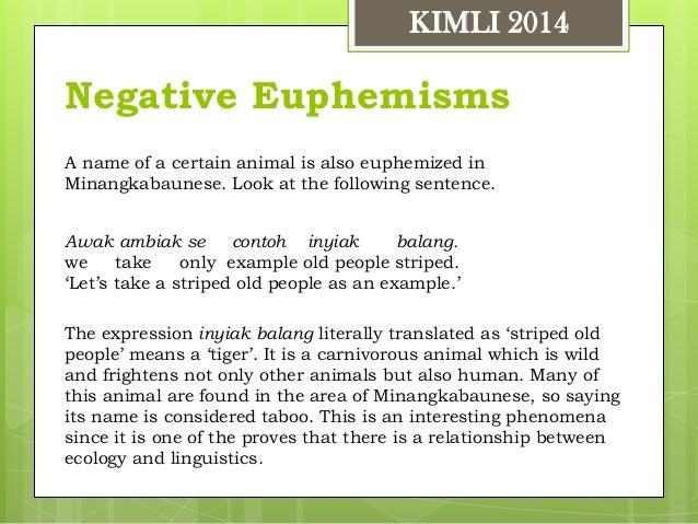 Types And Forms Of Euphemisms In Minangkabaunese Kimli 2014 Rusdi Noo