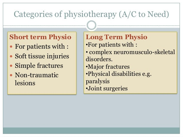 Goals of short term and long term physiotherapy  Increase joint range  Increase flexibility of muscles and tendons  Red...