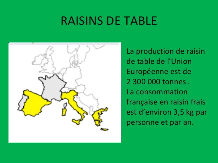 RAISINS DE TABLE La production de raisin de table de l'Union Européenne est de  2 300 000 tonnes . La consommation françai...