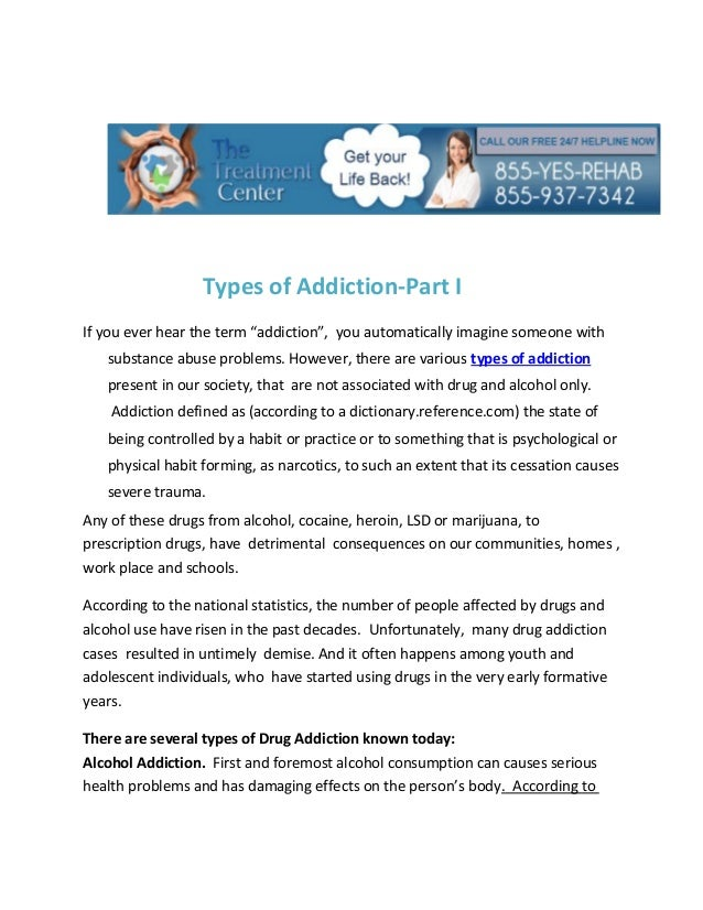 "Types of Addiction-Part IIf you ever hear the term ""addiction"", you automatically imagine someone with   substance abuse p..."