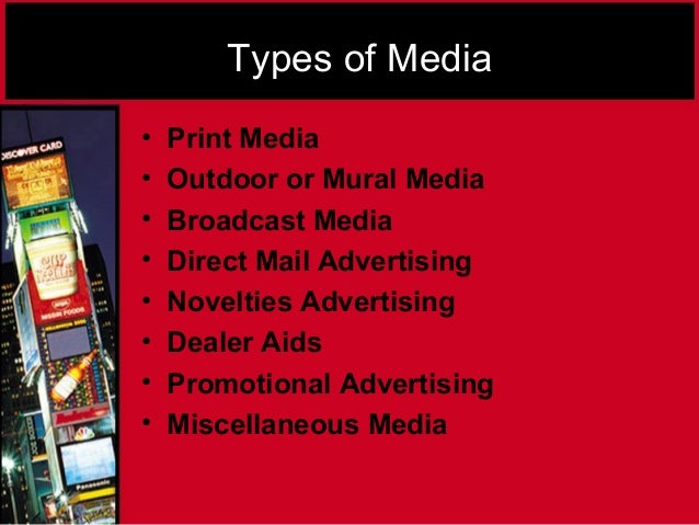 types of advertising media essay Advertising media choices and marketing strategy 6:46 advertising appeals: types & examples related study materials problem-solution essay: introduction.