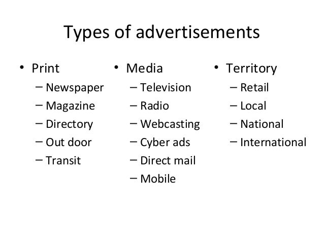 a description of the different types of commercial advertisements on television and the consumerss r What are the different types of advertising 2 (2018, february 20) 5 most common advertising techniques small business - chroncom [television advertisement techniques] | television advertisement techniques also viewed.