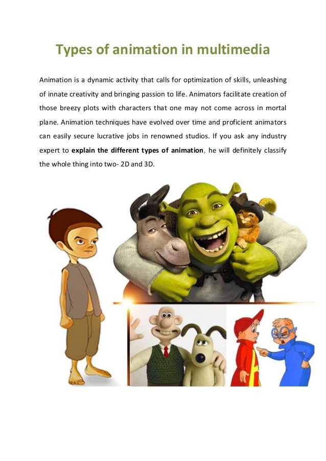 Types of animation in multimedia Animation is a dynamic activity that calls for optimization of skills, unleashing of inna...
