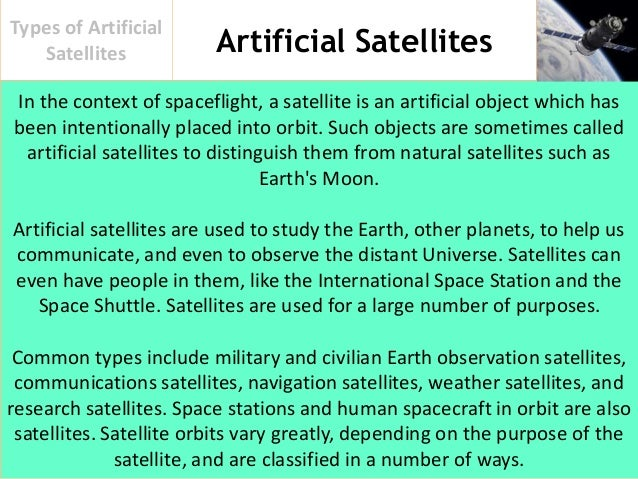 different artificial satellites