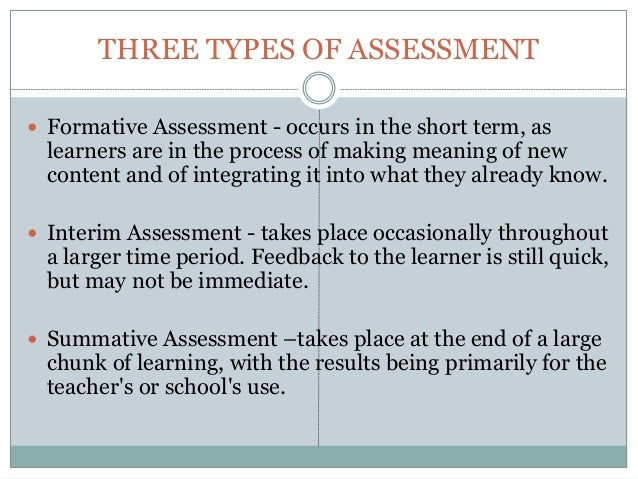 Types Of Assessments Types Of Assessments Assessment Resources For