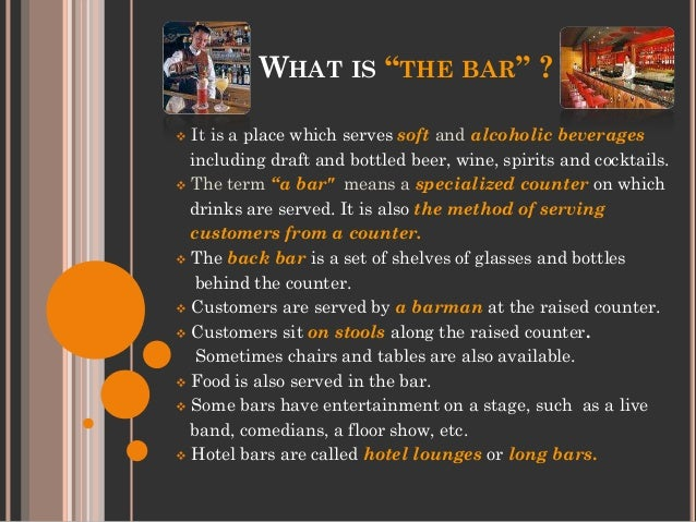 Types of bars food service for Food bar meaning