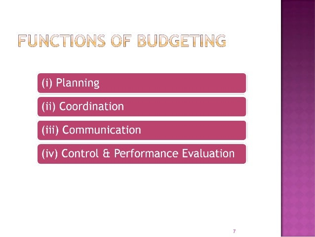  To ensure efficient & maximum use of scarce resources  Budget incorporates expected performance and present managerial ...