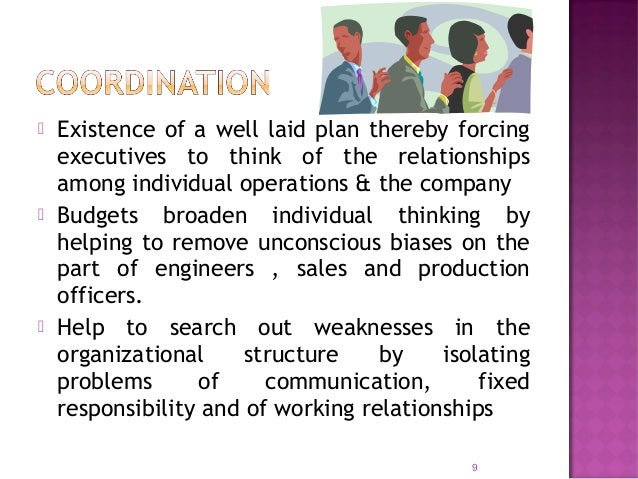  Budgets inform each other of what others have agreed to do  Also inform managers of the resources available to achieve ...