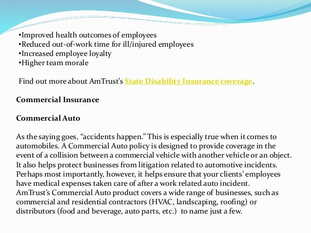 Types of business insurance coverage at am trust