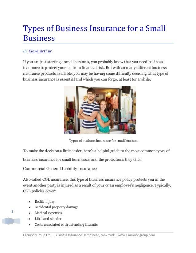 CarmoonGroup Ltd. – Business Insurance Hempstead, New York | www.Carmoongroup.com 1 Types of Business Insurance for a Smal...