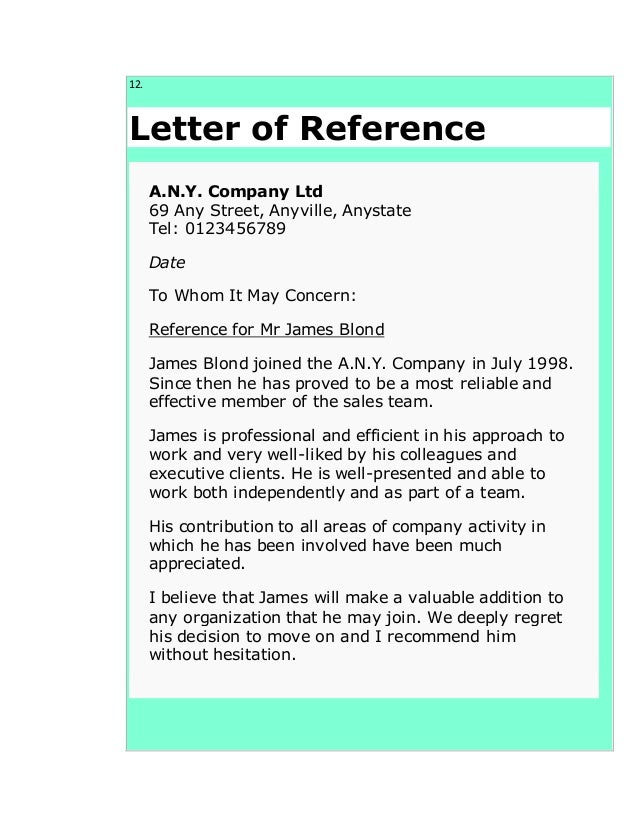 Superb ... Blackmore University; 13. 12. Letter Of Reference A.N.Y. Company ...