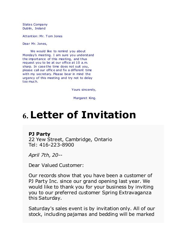 Types of business letters department 4 6 letter of invitation stopboris Image collections