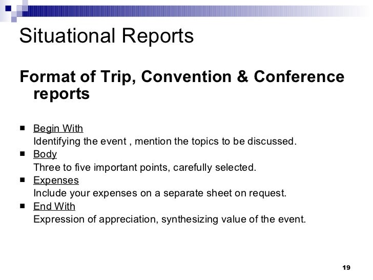 Types of business reports – Business Trip Report Format