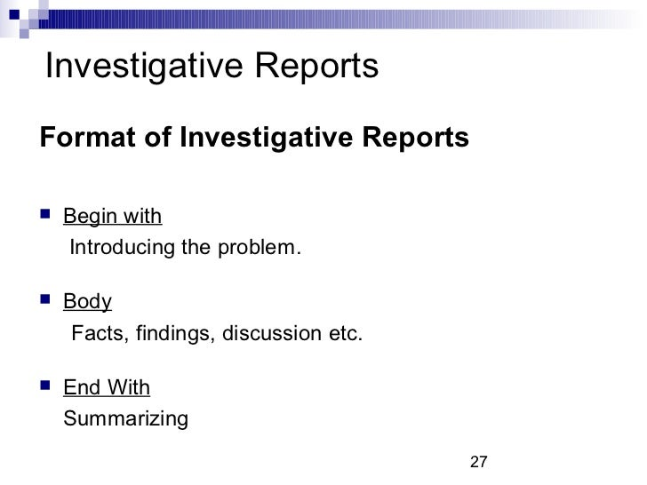 how to write an investigative business report
