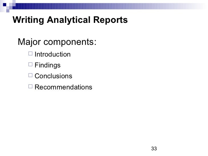 Analytical Reports 32; 33.  Analytical Report Format