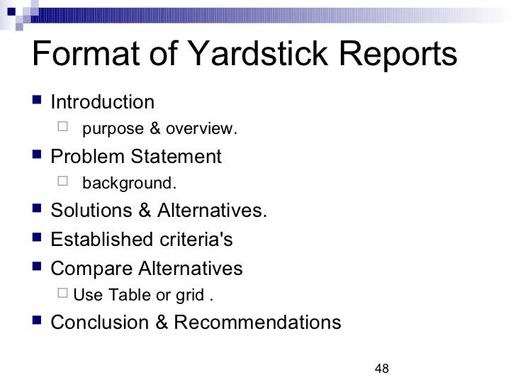 Format Of Yardstick Reports ...  Format For A Business Report