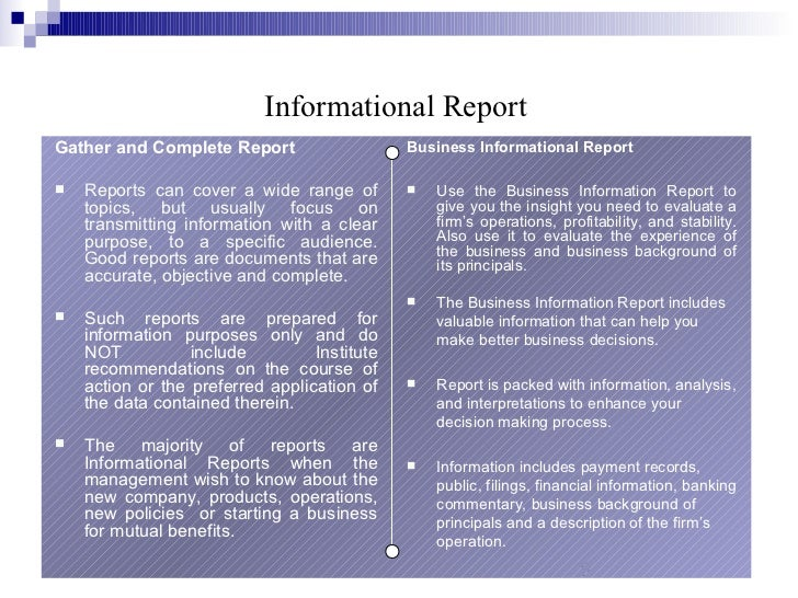 classification of business report