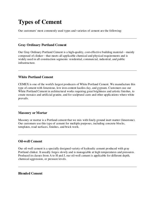 Types Of Cement : Types of cement