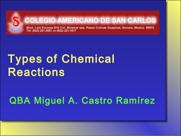 Types of ChemicalReactionsQBA Miguel A. Castro Ramírez