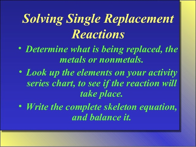 write a single replacement reaction lab