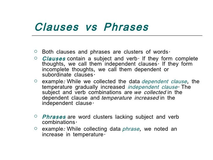 Types of clauses – Dependent Clause Worksheet