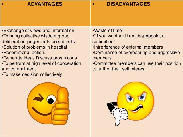 advantages and disadvantages of committees An audit committee is a committee comprising of non-executive directors which is able to view a company's affairs in a detached and independent way and collaborate.