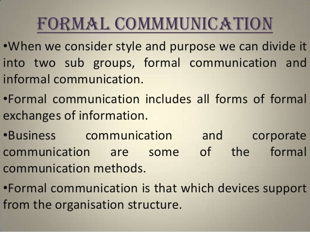 formal group communication