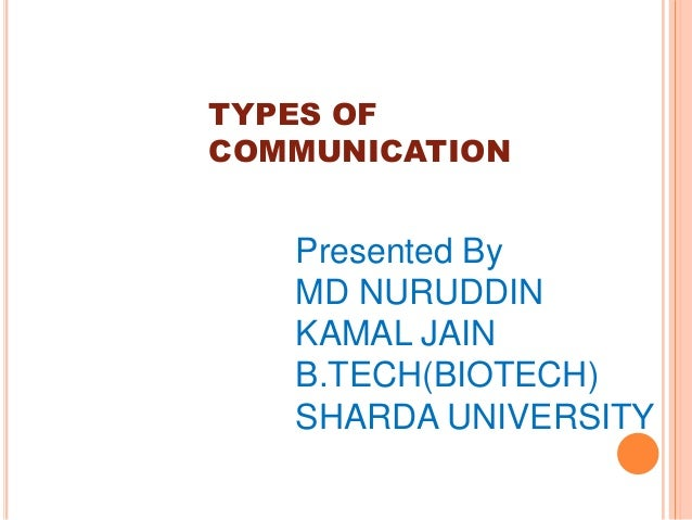 TYPES OFCOMMUNICATION   Presented By   MD NURUDDIN   KAMAL JAIN   B.TECH(BIOTECH)   SHARDA UNIVERSITY