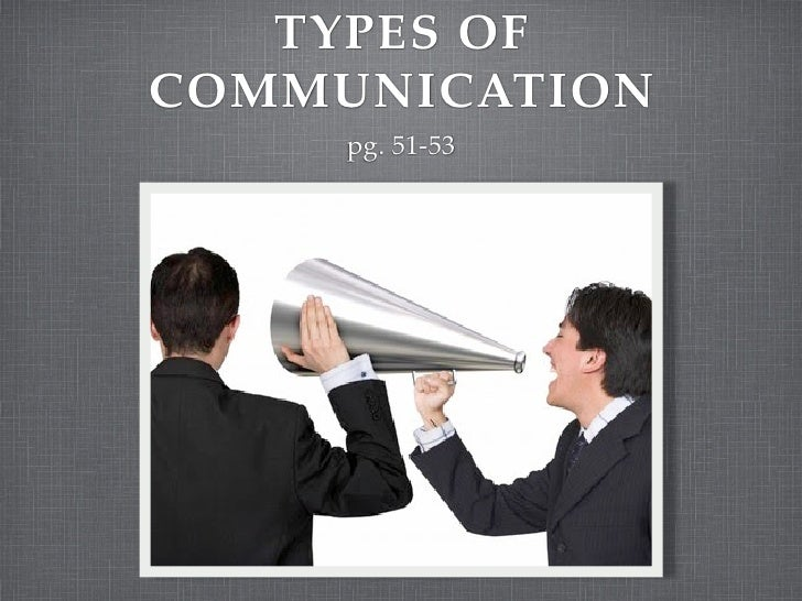 TYPES OF COMMUNICATION      pg. 51-53