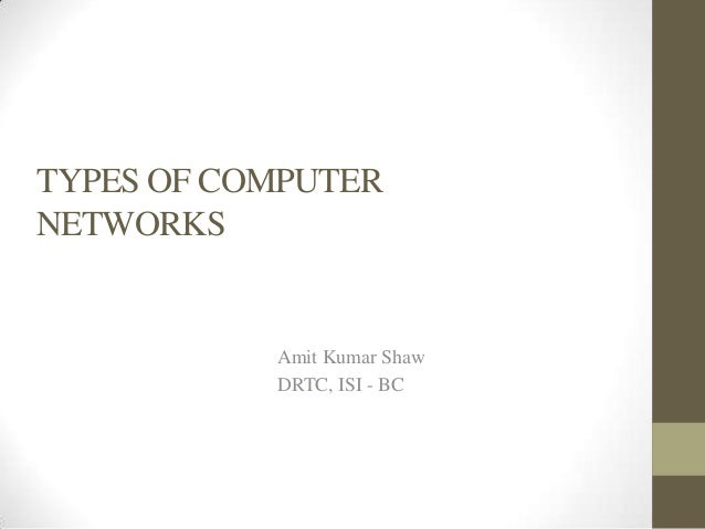 TYPES OF COMPUTERNETWORKS           Amit Kumar Shaw           DRTC, ISI - BC