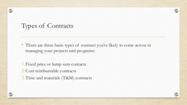 types of contracts in project management pdf