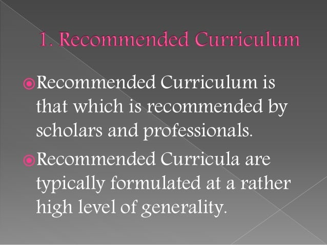 allan glatthorn seven types of curriculum