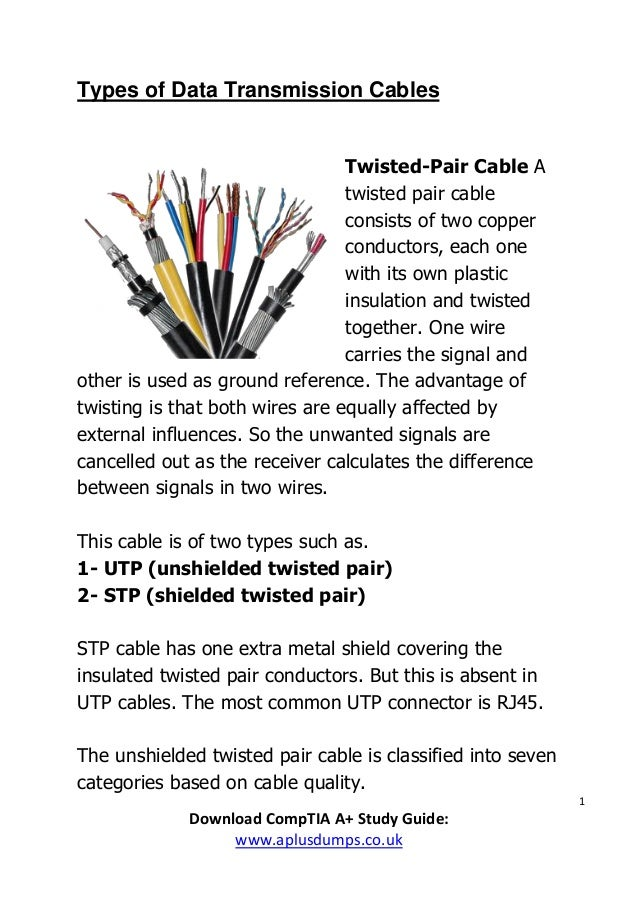 Types of data transmission cables - (CompTIA A+, 220-901, 220-902)