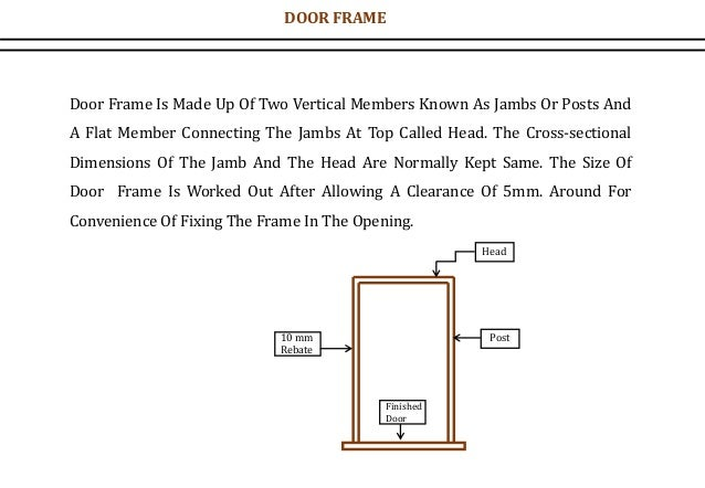 Door Frame Is Made Up Of Two Vertical Members Known As Jambs Or Posts And A Flat Member Connecting The Jambs At Top Called...