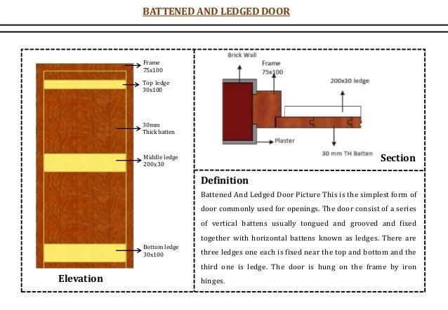 BATTENED AND LEDGED DOOR Frame 75x100 Top ledge 30x100 30mm Thick batten Middle ledge 200x30 Bottom ledge 30x100 Elevation...